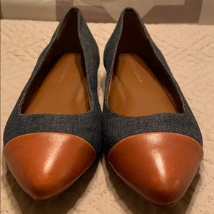Denim and brown leather capped flats